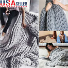 Chunky Knitted Thick Blanket Warm Hand Yarn Bulky Knit Throw Sofa Bed Blanket XL image