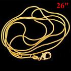 Simple 18K Yellow Gold plated Filled Snake Chain Necklace 16-30 Inch Jewelry