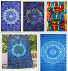 India Handmade Elephant Printed Tapestry Hippie Cotton Mandala Twin Bedspread
