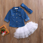 Toddler Baby Girls Fashion Denim Shirt Tops Tutu Dress Clothing 3PS Outfit sets