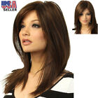 100% Real Hair Golden Brown Long Straight Partial Bangs For Women Wigs US Stock