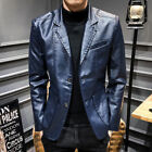 Mens Jacket Leather Warm Blazer Coat Casual Business Formal Dress Party Suit Hot