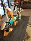 Yard Art Welded Metal Multi Color Pelican Sculpture Recycled Metal Art