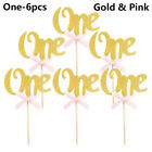 10pcs One Year Birthday Cupcake Toppers Party Baby Shower Wedding Cake Decors