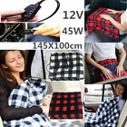 12Volt 100% Fleece Red Plaid Heated Travel Blanket! Electric Throw Car Truck USA image