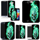 Gel case for most mobile phones cover bumper- blue fire skull silicone günstig