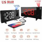 5'' Digital LED LCD Projector Snooze Timer Alarm Clock FM Radio Curved-Screen US
