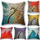 Home Sofa Car Oil Painting Tree Cushion Cover Decorative Throw Pillow Cover 1PC