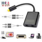 Optical Digital Audio Cable Splitter Adapter 2 Way SPDIF Toslink 1 To 2 Out Hub