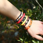 UK_ LK_ 6Pcs Unisex Colorful Faux Leather Braided Wrist Band Multi-Layer Bracele