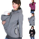 Внешний вид - Women Maternity Striped Baby Pouch Carrier Kangaroo Zipper Pregnancy Coat US