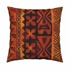 Tiki Tapa Tapa Cloth Orange Red Throw Pillow Cover w Optional Insert by Roostery