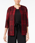 Anne Klein Plaid Jacquard Blazer Jacket Cordoba Red Black