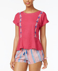 Lucky Brand Embroidered Cotton Pajama Top Red