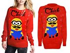 'Chick' Minion Jumper Sweater Pullover Crew Neck Novelty Men Women Unisex L- 2XL