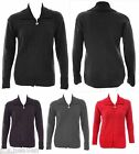Ladies New Knit Zip Jacket Cardi Plus Size 16 - 26 Black Grey Purple Red *LICK*