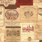 Vintage French Wine Labels Wallpaper KK26754 red tan gold scrubbable prepasted