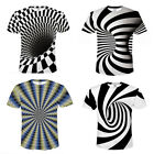 3D Optical illusion T-Shirt Hypnosis Swirl Print Men Women Short Sleeve Tee Tops