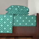 Mod Turquoise Retro Floral Retro Modern Cotton Sateen Sheet Set by Roostery