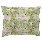 Golden Retriever Fabric Dogs Grass Seamless Pattern Pillow Sham by Roostery