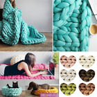 Wool Chunky Knitted Thick Blanket Yarn Bulky Knit Throw Sofa Bed Blanket Carpet  image
