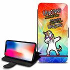 Unicorn Dab Design PU Leather Wallet Case Cover For Various Mobiles - 01