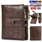 Vintage Men Women Genuine Leather Wallet RFID Bifold Purse ID Credit Card Holder image