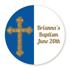 Gold Glitter Navy Blue - Cross Round Personalized Baptism Christening Sticker