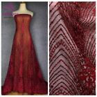 Wine/gold fashion style evening/wedding dress handmade beaded lace fabirc 51''