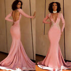 Pink Mermaid Prom Gown Sexy Deep V Neck Backless Long Sleeve Evening Dress
