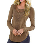 Ladies Women Summer Loose Casual Cotton Long Sleeve Lace T Shirt Tops Blouse