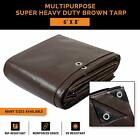 6' x 8' Super Heavy Duty 16 Mil Brown Poly Tarp Cover - Thick Waterproof, UV Res