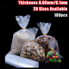 100x Clear Poly Bags Flat Open Top Plastic Lay Packing Pouch Food Grade Storage