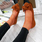 WOMENS LADIES BOW SLIP ON BALLERINAS DOLLY PUMPS FLAT BALLET SHOES SIZE UK