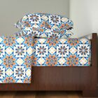 Tile Moroccan Arabian Persian Blue Orange Cotton Sateen Sheet Set by Roostery image