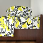 Woodland Camo Yellow Cotton Sateen Sheet Set by Roostery