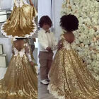 Blingbling Gold Sequins Kids Flower Girl Dresses TUTU Lace Appliques Long Sleeve