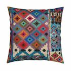 Kilim Turkey Geometric Bohemian Throw Pillow Cover w Optional Insert by Roostery