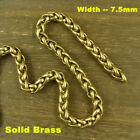 Solid Brass Snake / Round / Falt Curb Chain Bag Wallet Fob Chain Key Chain