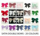 Pack of 5 - Large Ready Made 8.5cm / 25mm SATIN RIBBON DOUBLE BOWS - 20 Colours