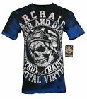 ARCHAIC by AFFLICTION Mens T-Shirt DEATH RACER Skull Wings MMA Biker GYM $40 image