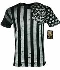 ARCHAIC by AFFLICTION Mens T-Shirt NATION Skull Wings US Flag MMA Biker GYM $40 image
