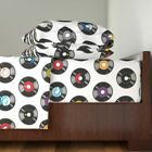 Music 70S 80S Vintage Retro Polka Dots 100% Cotton Sateen Sheet Set by Roostery image