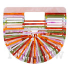 Womens Mini Acrylic Bag Clutch Purse Ark Cage Bamboo Bag Holiday Basket Handbag