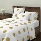 Glitter Gold Metallic Playful Polka Dot Polkadot Sateen Duvet Cover by Roostery image