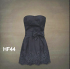 NEW Hollister Womens Strapless Eyelet Dress Size Small Navy Blue Bow