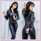 New Faux Latex Leather Lingerie Jumpsuit Sexy Body Suits Pvc Catsuit Teddy S-XL
