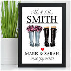 Personalised Wedding Gifts Welly Wellies Print for Mr & Mrs Bride and Groom Gift