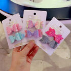 2/4PCS Glitter Bow Hair Clips Alligator Hairpins Barrettes Girls Accessories