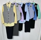 BOYS NWT 4PC VEST SETS SIZE 4 6 7 8 OR 10